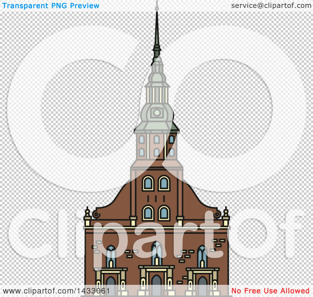 Clipart of a Line Drawing Styled Latvia Landmark, St. Peter Church.