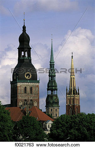 Stock Photo of Latvia, Riga, Old Town, St Peter's church f0021763.