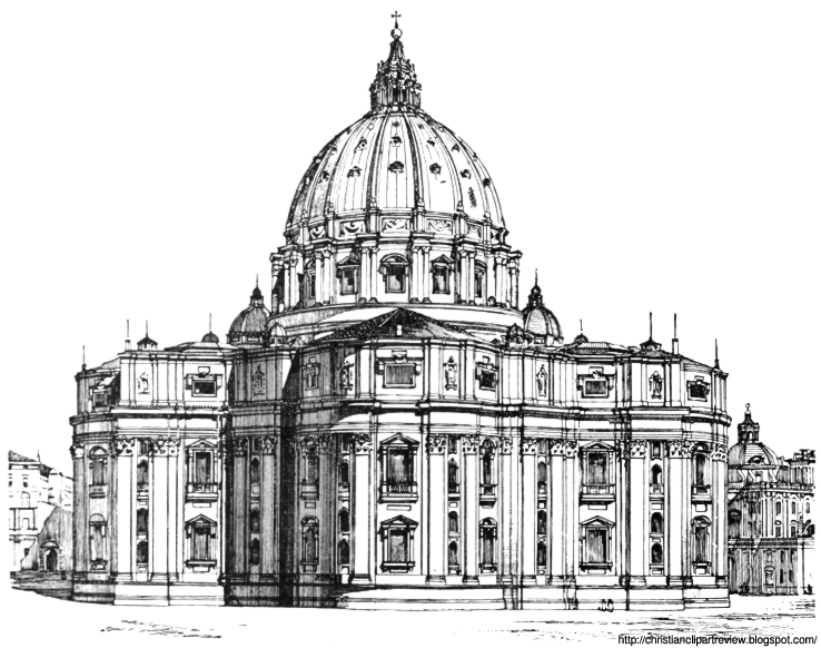 A drawing of St. Peter's in Rome.