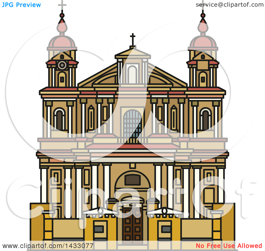 Clipart of a Line Drawing Styled Lithuanian Landmark, Church of St.