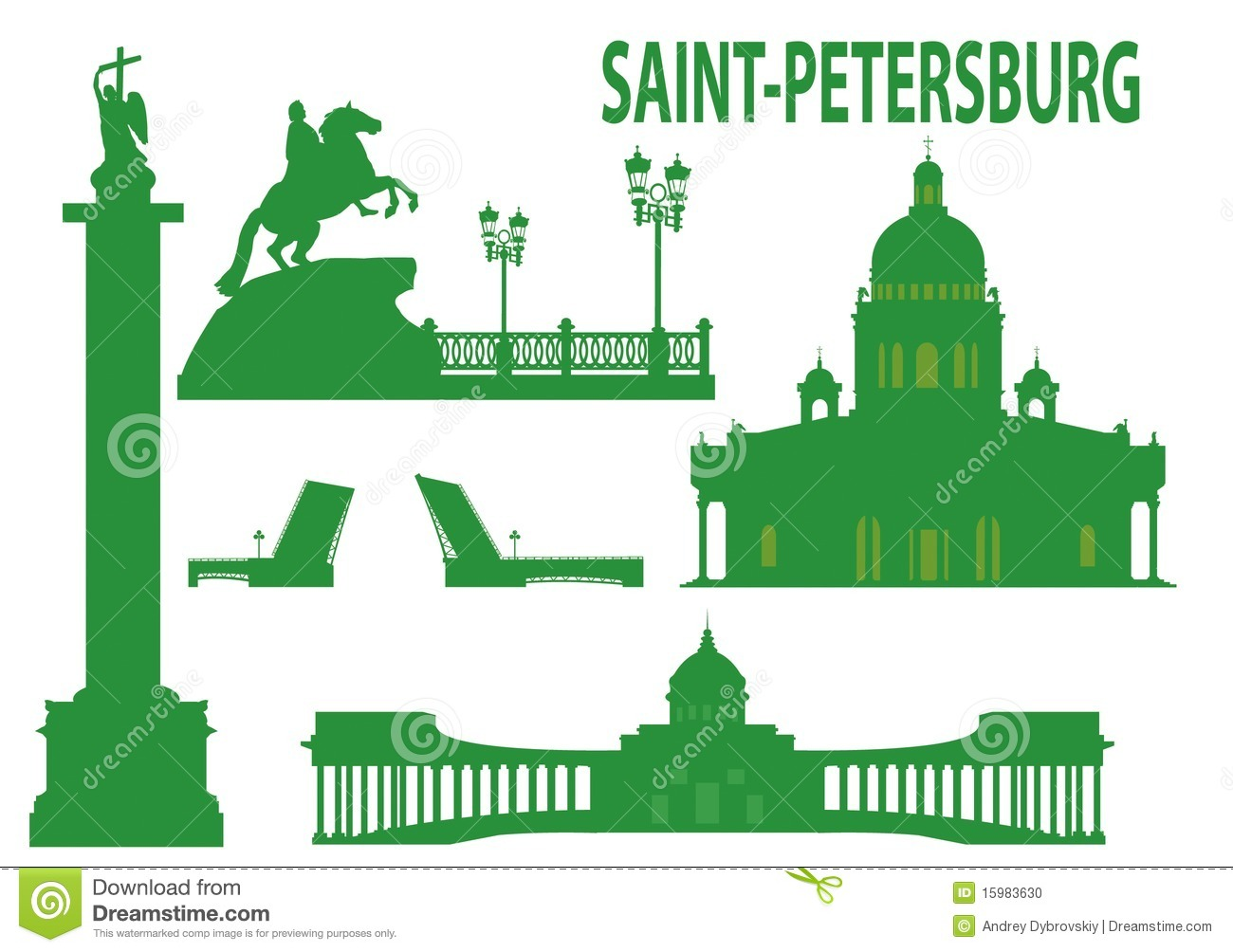Vector Silhouette Of St. Petersburg, Russia Stock Vector.