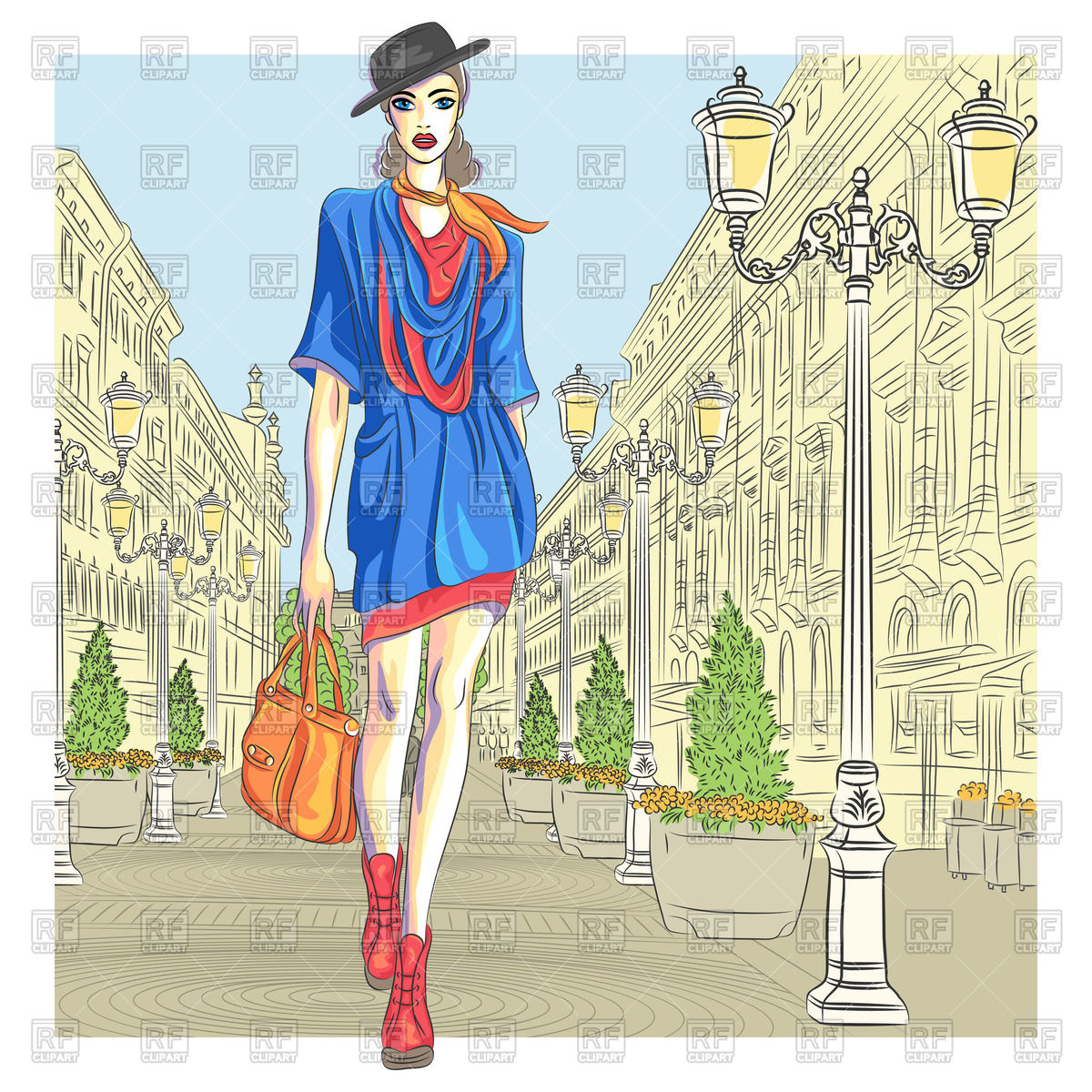 Fashionable girl with bag in blue dress, hat walking in St.
