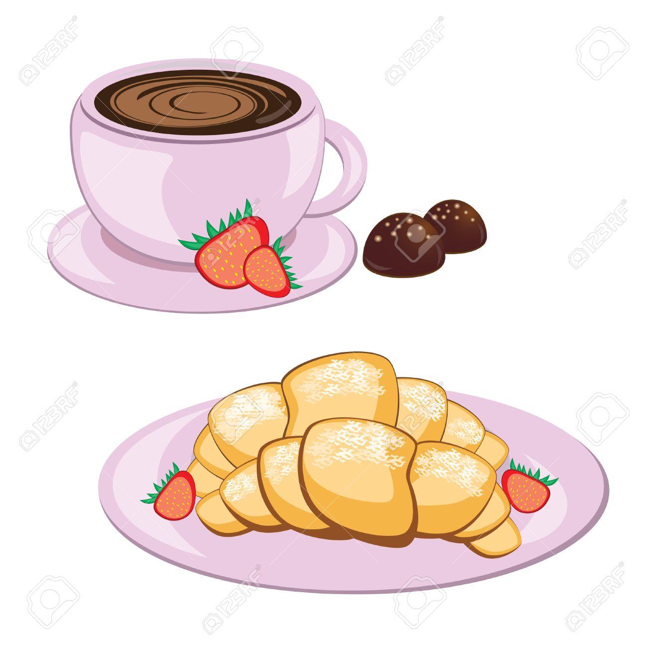Petit Déjeuner De Café Dans La Tasse Ronde Et Croissant Clip Art.