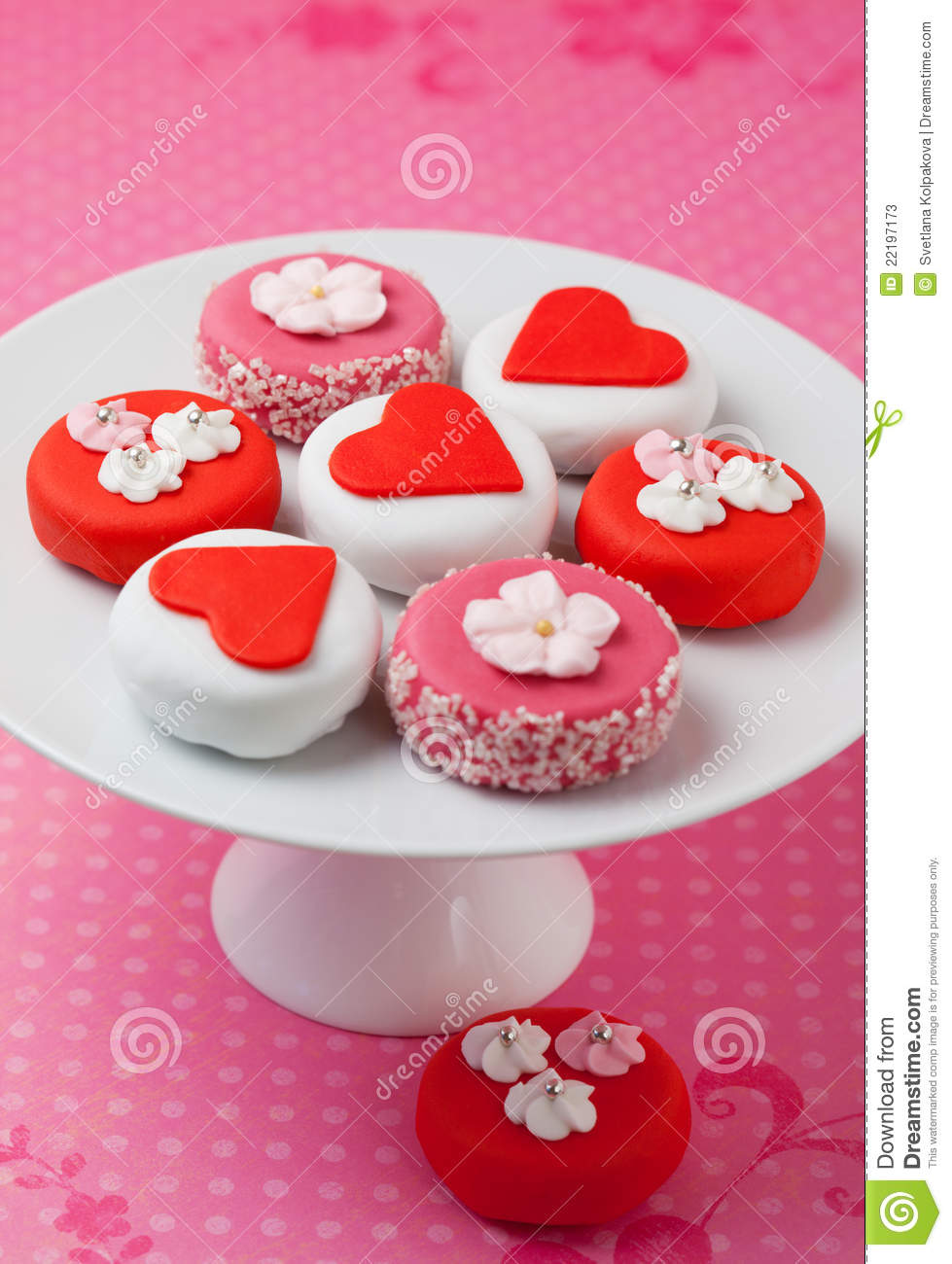 Petit Fours For Valentine's Day Stock Photos.