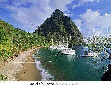 Stock Photography of Petit Piton above Margretoute Bay on St Lucia.