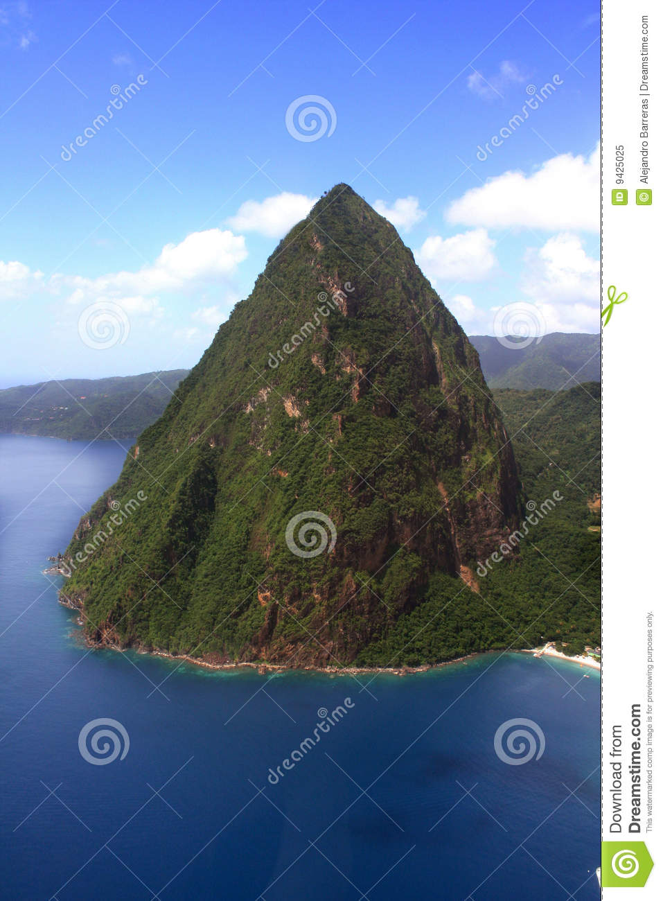 St. Lucia Petit Piton Aerial Royalty Free Stock Photo.
