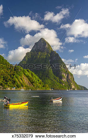 Stock Photograph of St. Lucia, Soufriere Bay and Petit Piton.
