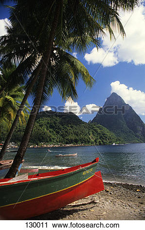 Stock Photography of Soufriere Harbour Petit Piton St. Lucia West.