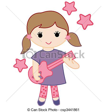 Clipart of girls rock vector pack.