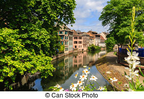 Stock Photo of Strasbourg, water canal in Petite France area.