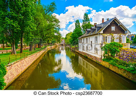 Stock Photography of Strasbourg, water canal in Petite France area.