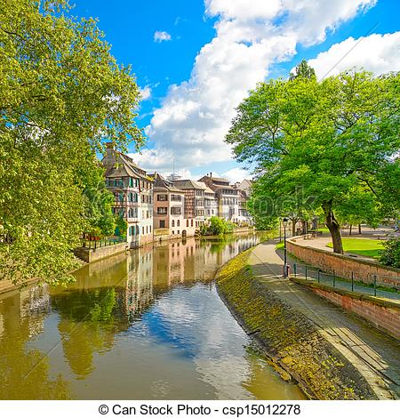 Picture of Strasbourg, water canal in Petite France area. Half.