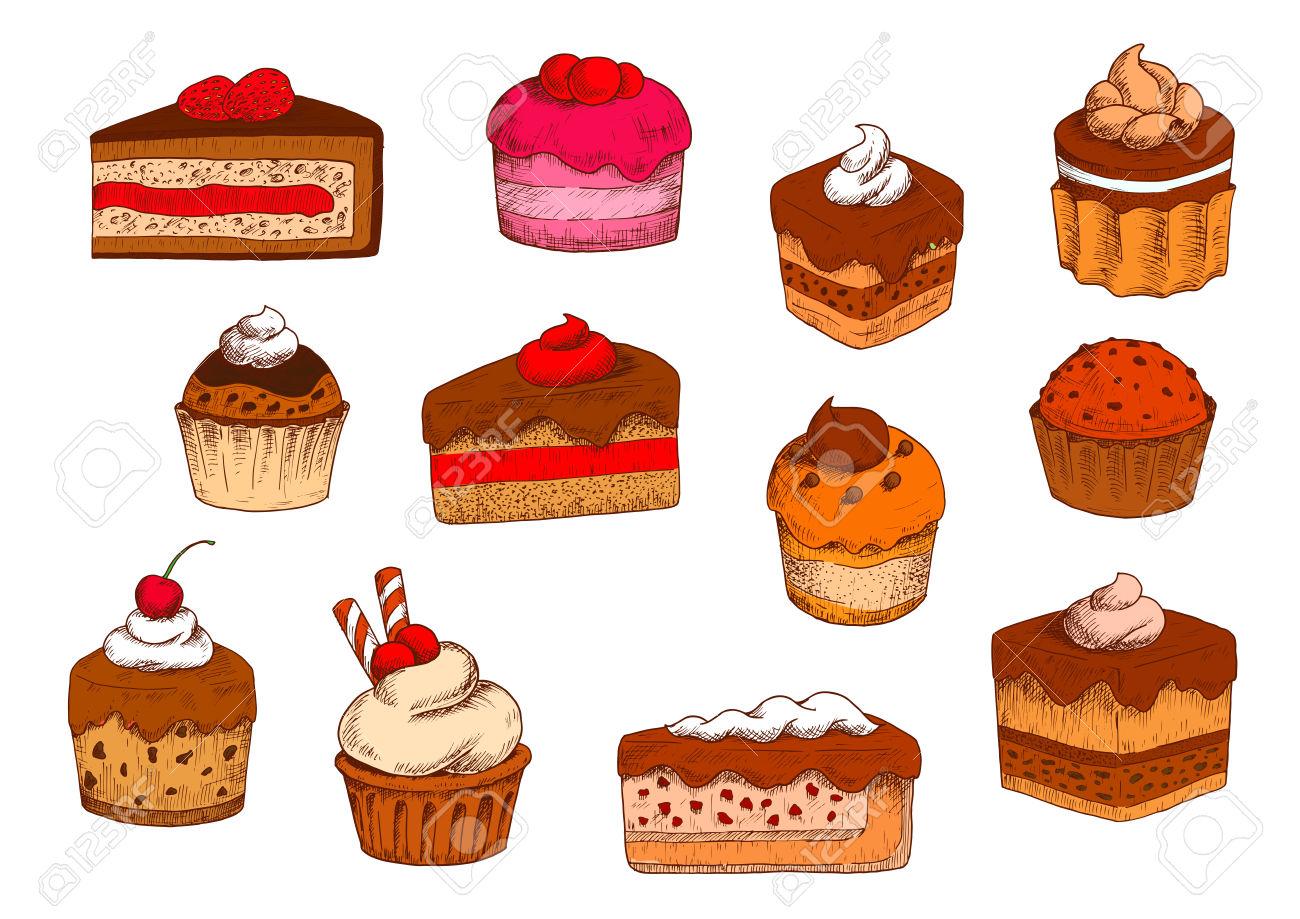 Chocolat Et Gâteaux à Plusieurs Niveaux Fruités, Petits Fours Et.