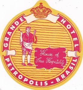 Brasil Petropolis Grande Hotel Vintage Luggage Label sk1690.