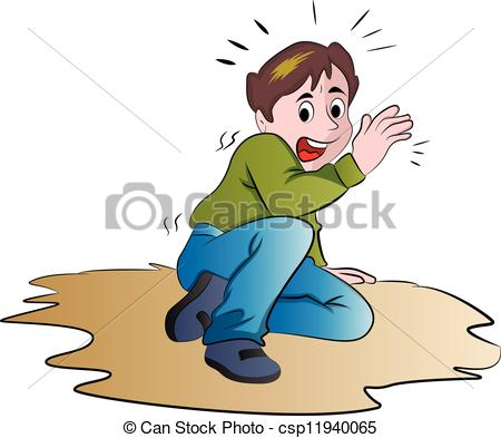 Clip Art Vector of Terrified Boy, illustration.