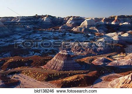 Stock Images of Multicolor rock formations in mountainous remote.