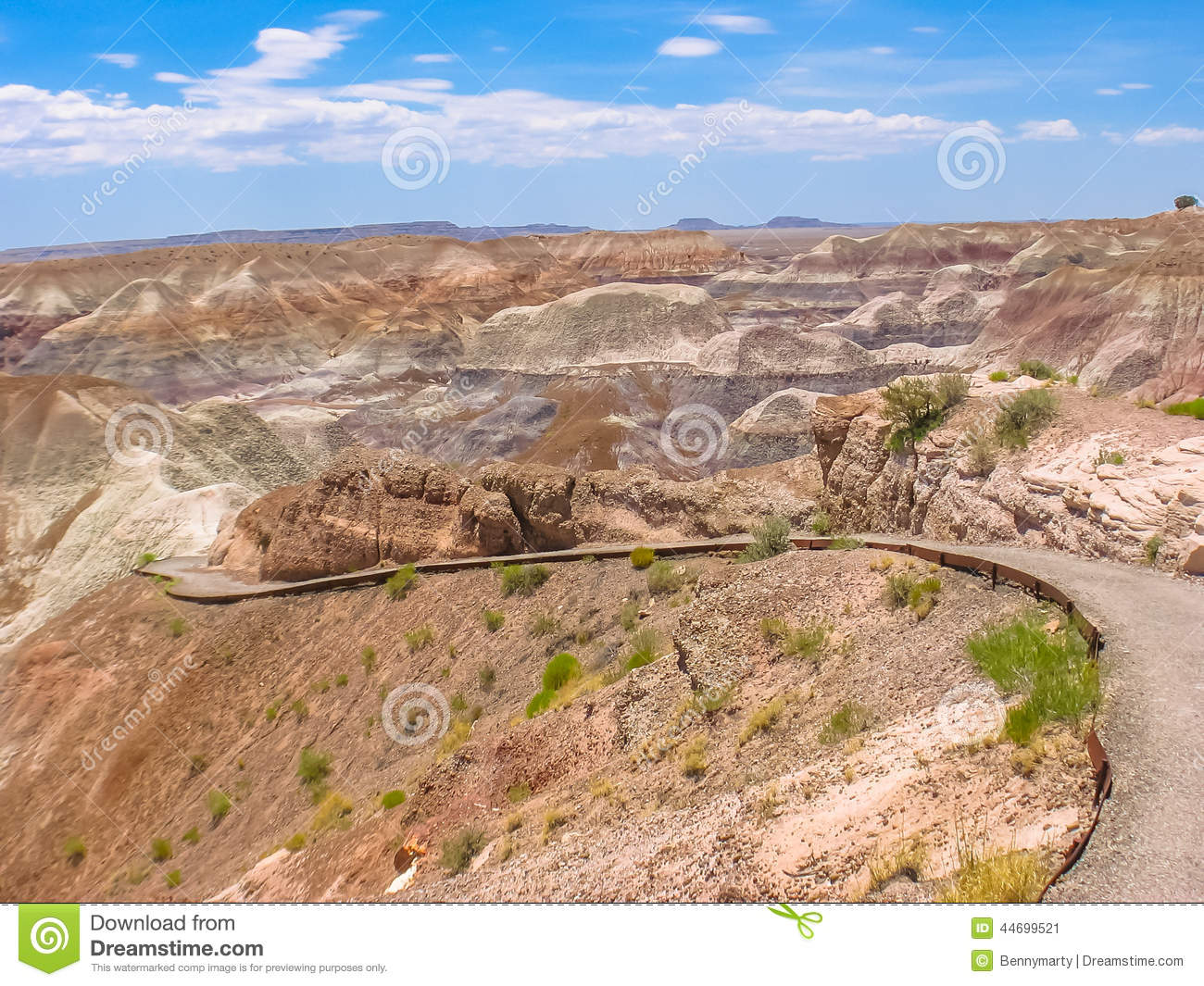 Painted Desert Badlands Petrified Forest National Park Stock Photo.
