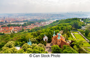 Stock Photographs of Temple of St.Lawrence in Petrin garden in.