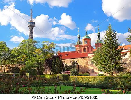 Pictures of Petrin Lookout Tower (Petrinska rozhledna) in park in.