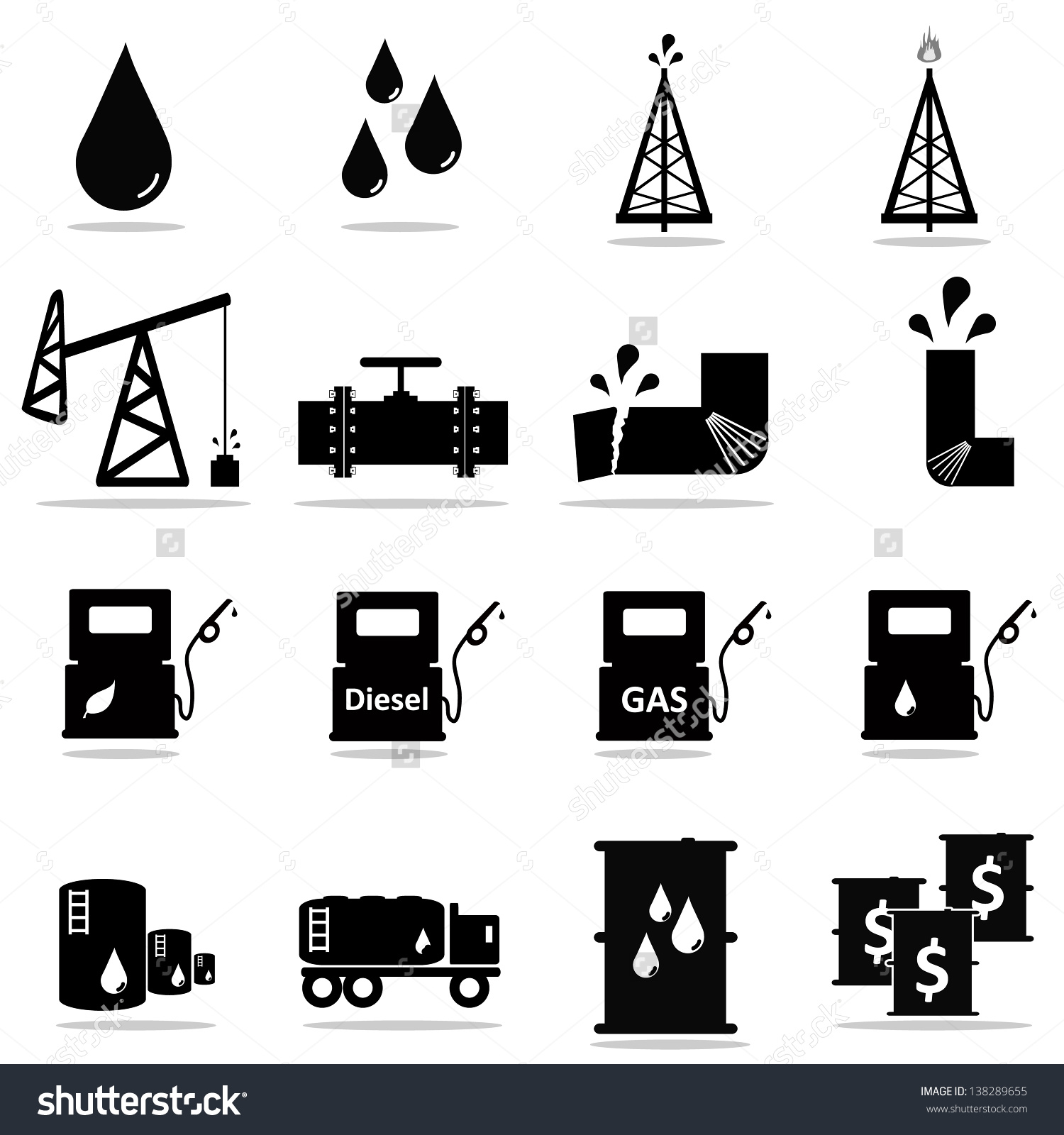 Petrochemical Icon Set Stock Vector 138289655.