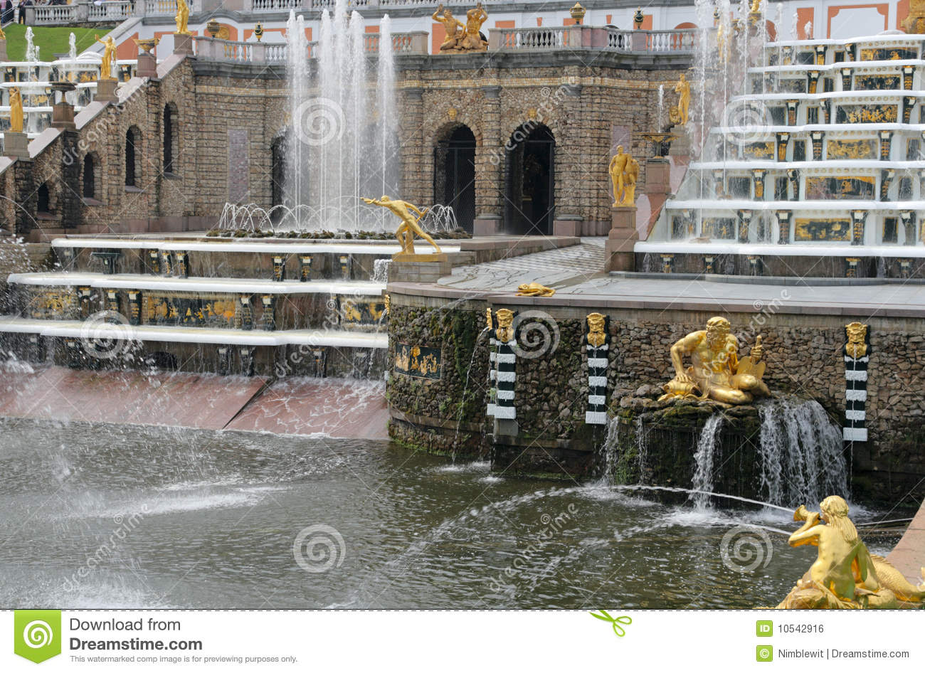 Grand Cascade. Peterhof (Petrodvorets) Royalty Free Stock Image.