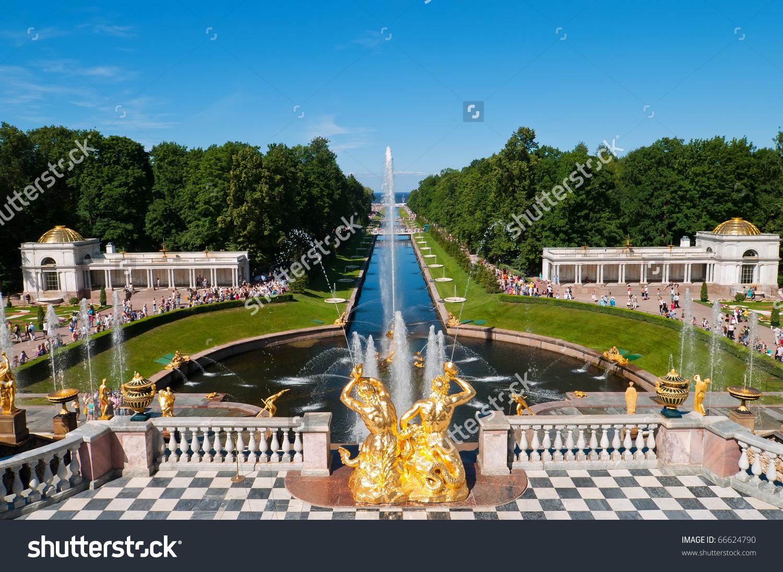 Lower Park Canal Golden Statues Peterhof Stock Photo 66624790.