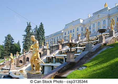 Stock Photo of Royal Petrodvorets at Peterhof in summer, Russia.