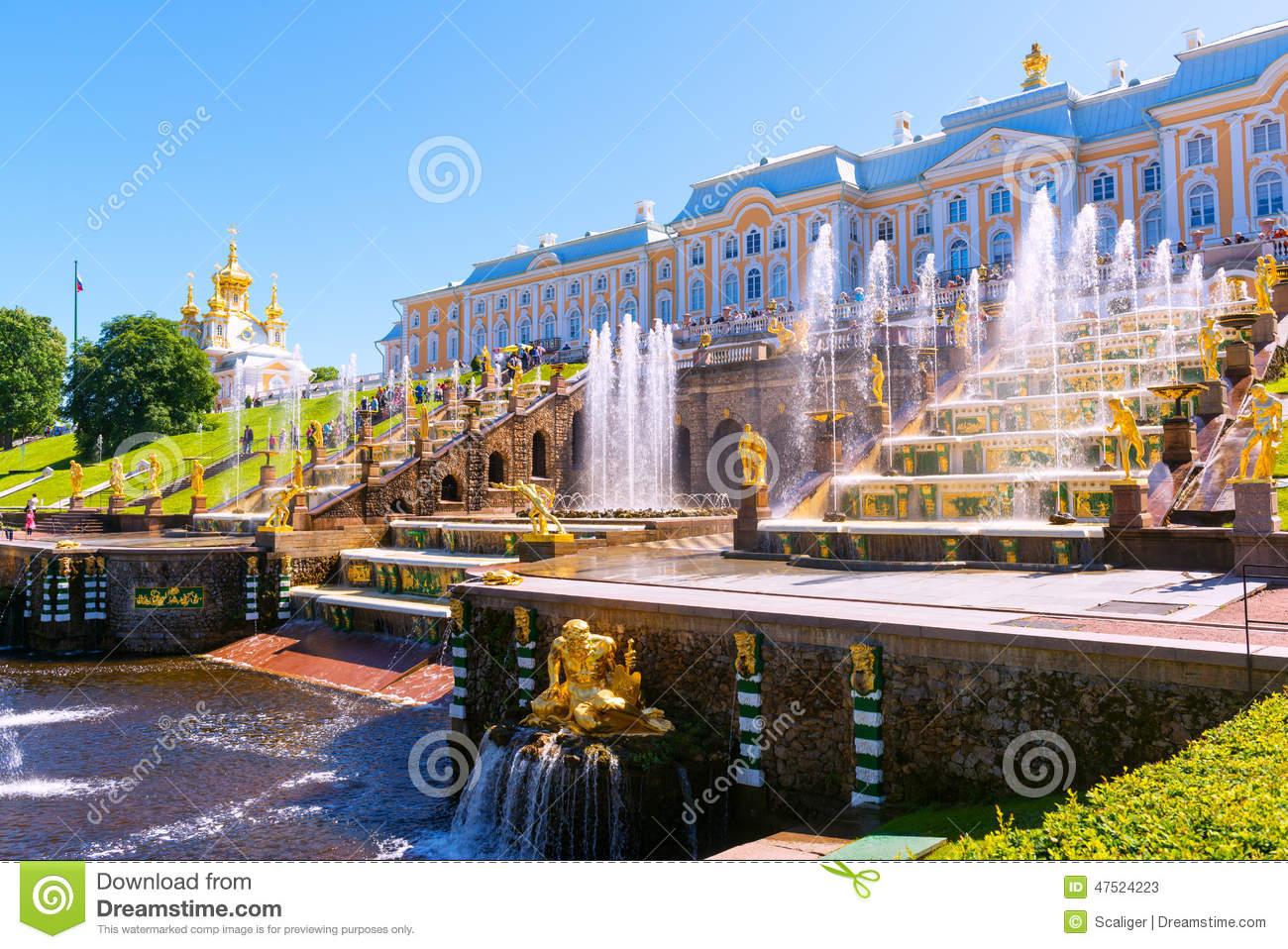 Peterhof Palace (Petrodvorets) In Saint Petersburg, Russia.
