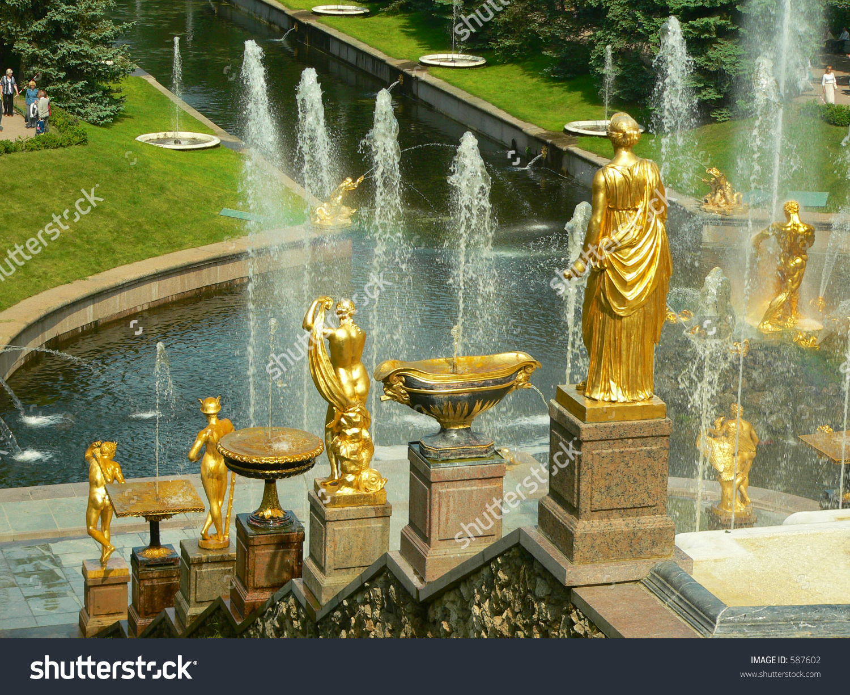 Fountain In Petrodvorets (Peterhof), St Petersburg, Russia. Stock.