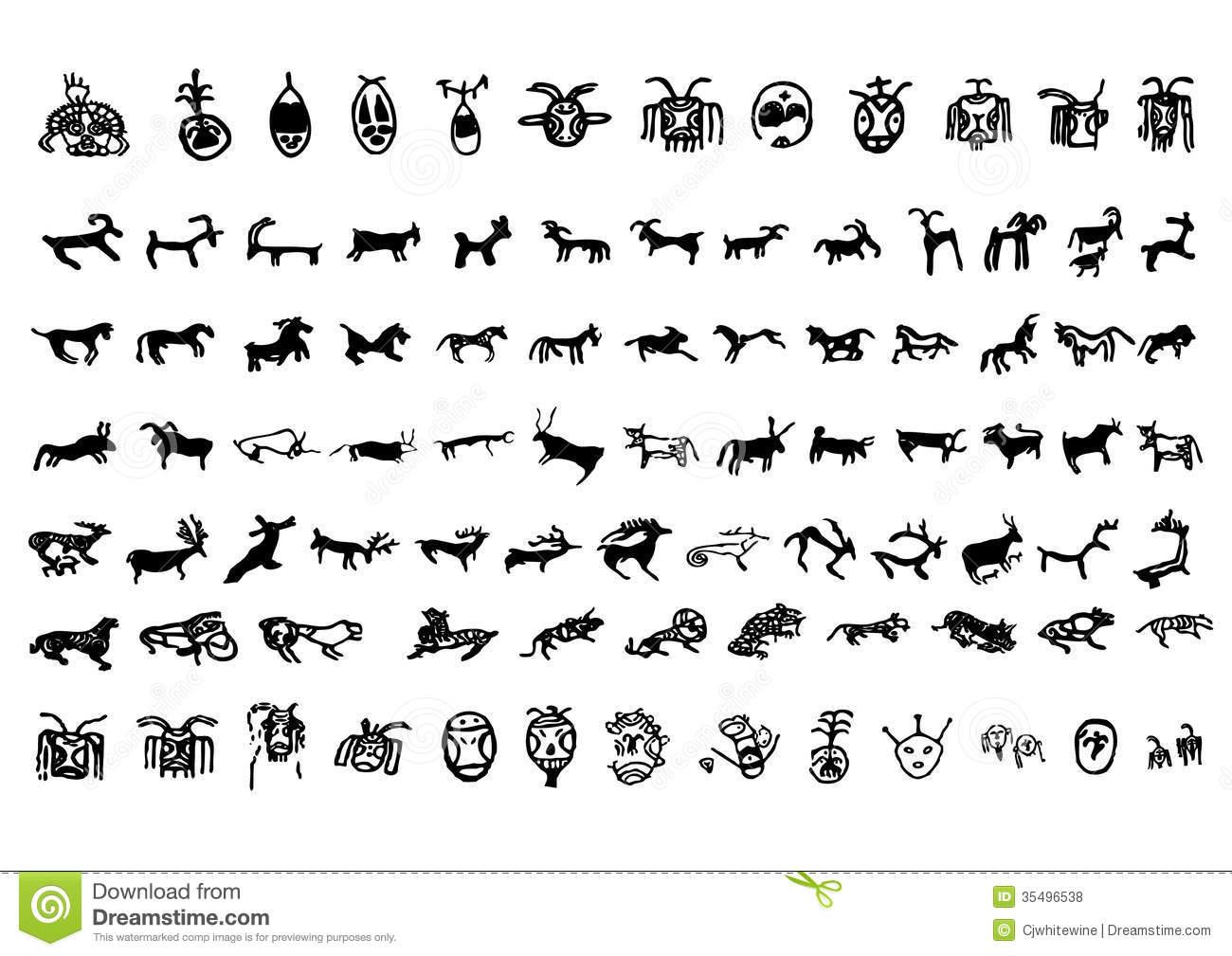 Petroglyph Stock Illustrations.