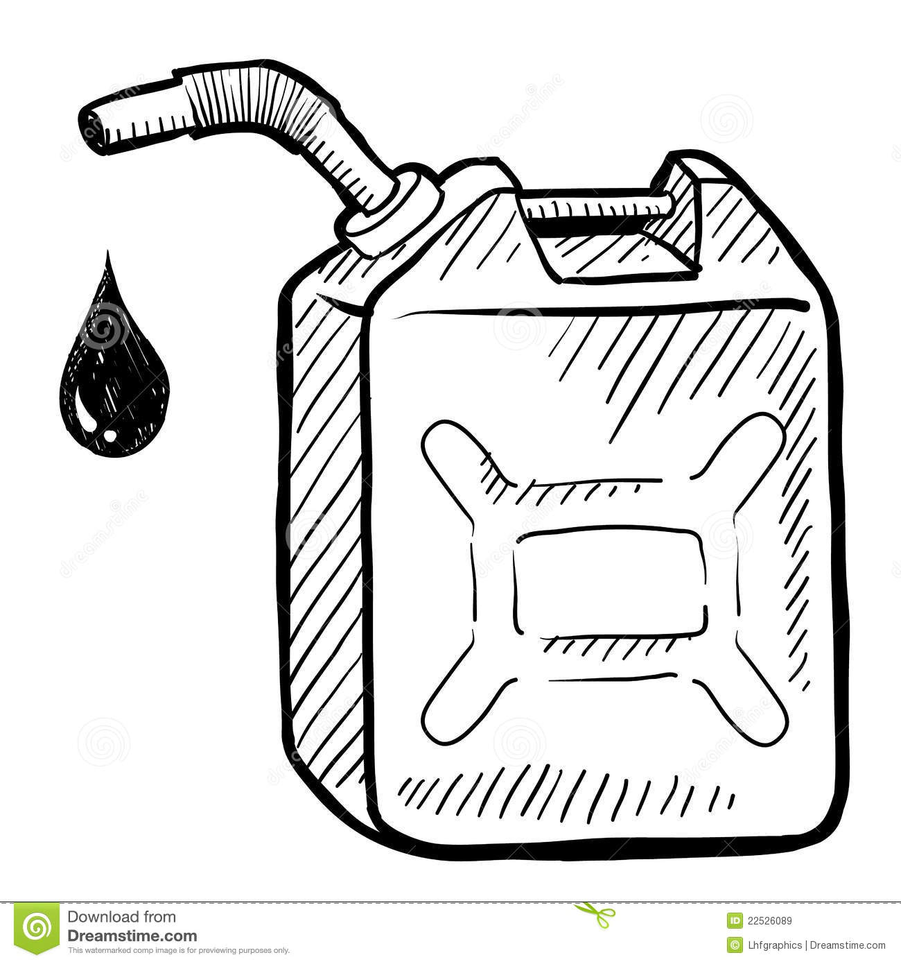 Gasoline Or Petrol Can Sketch Royalty Free Stock Images.