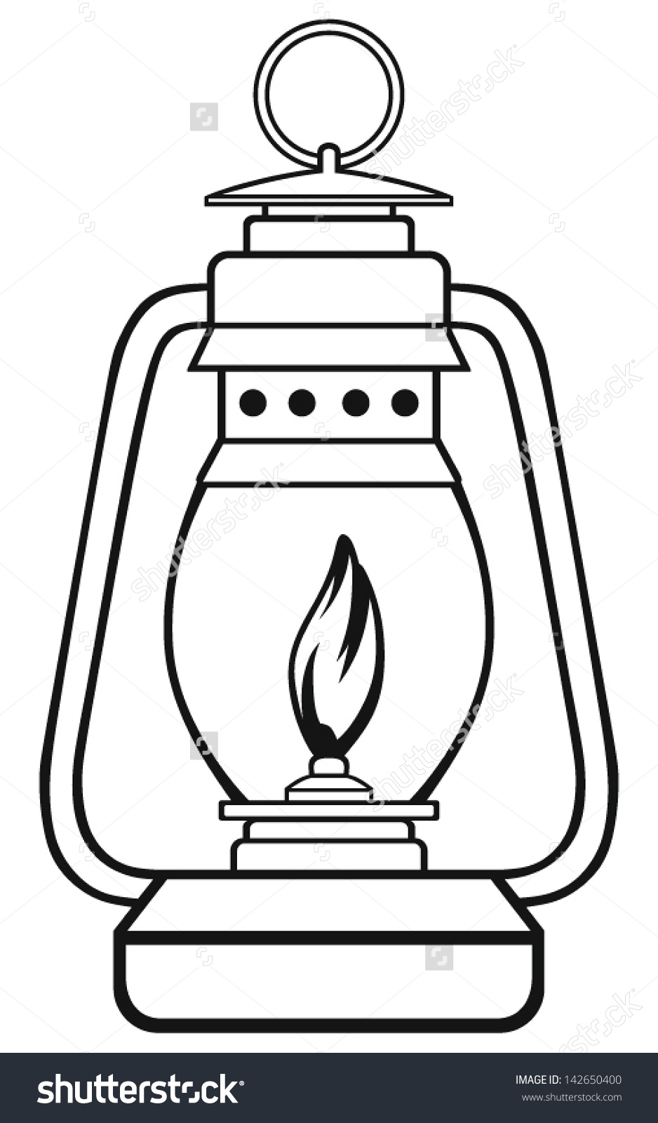Symbol Old Dusty Oil Lamp Stock Vector 142650400.