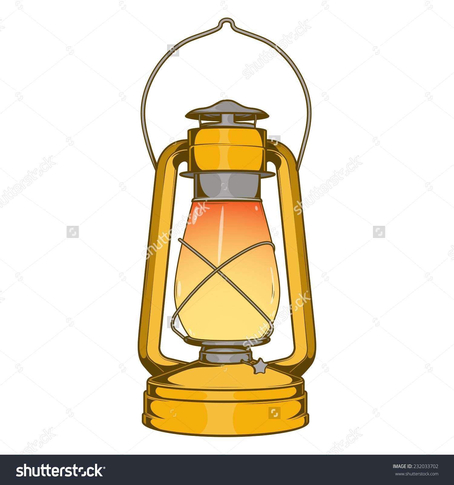Antique Brass Old Kerosene Lamp Isolated Stock Vector 232033702.