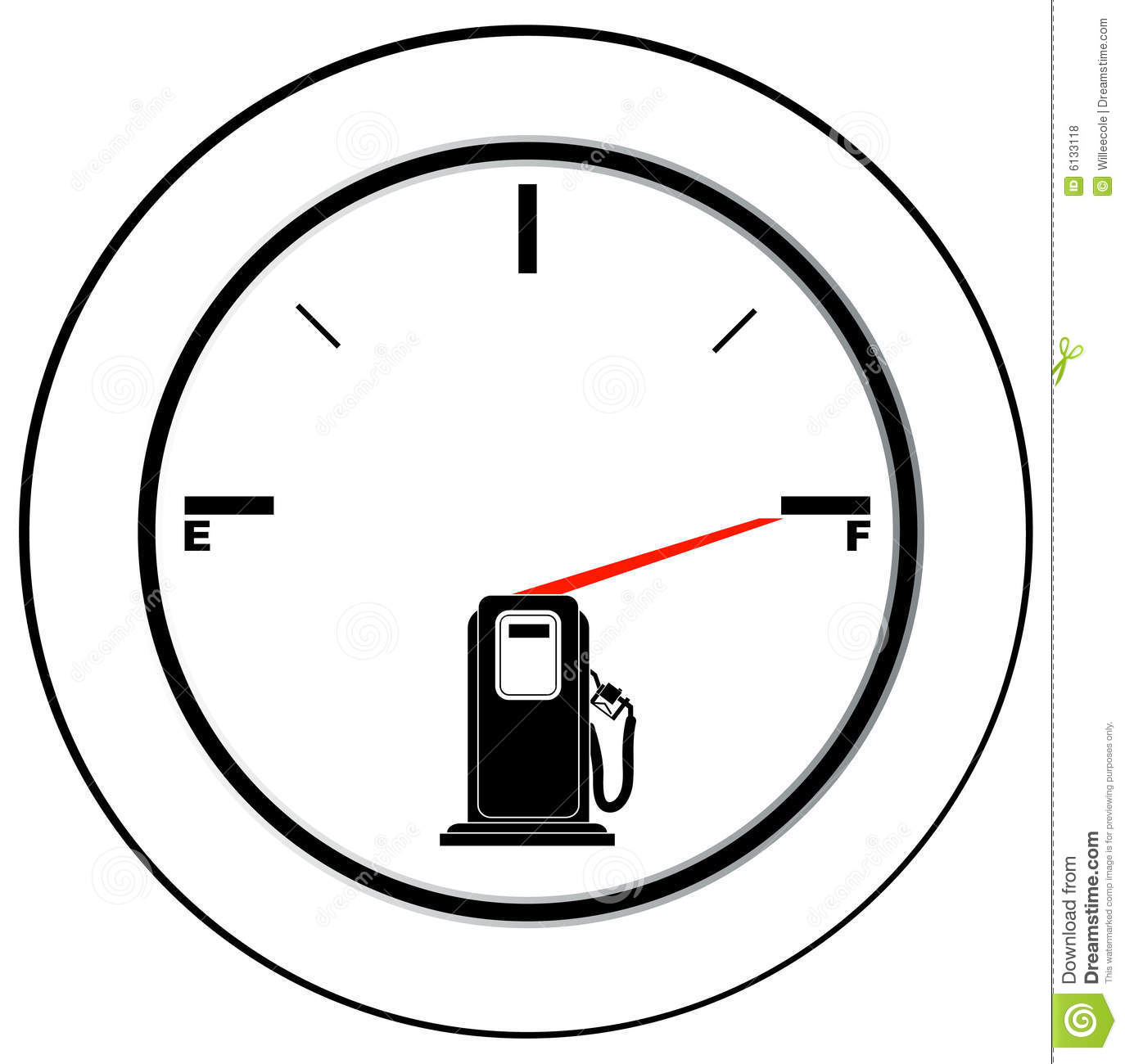 Full Fuel Gauge Royalty Free Stock Image.