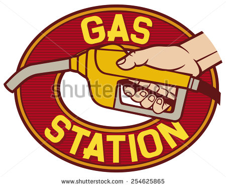 Gas Station Label (Gas Station Symbol, Hand Holding A Fuel Pump.