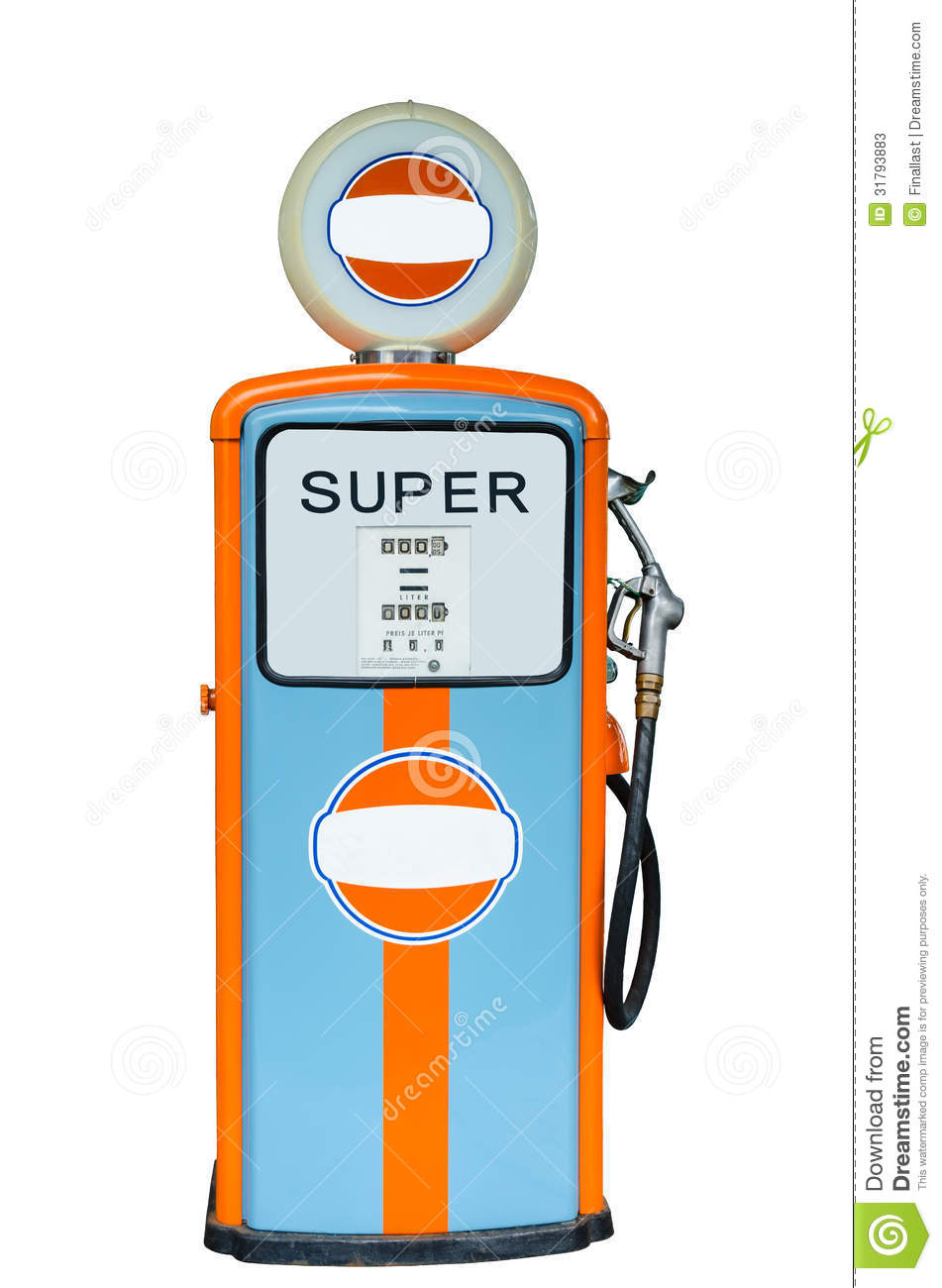 Retro Fuel Dispenser Isolated On White Background Stock Photos.