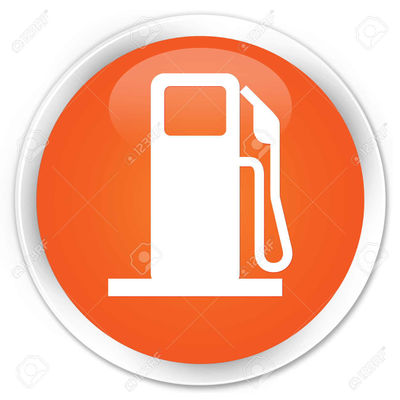 Fuel Dispenser Icon Orange Glossy Round Button Stock Photo.