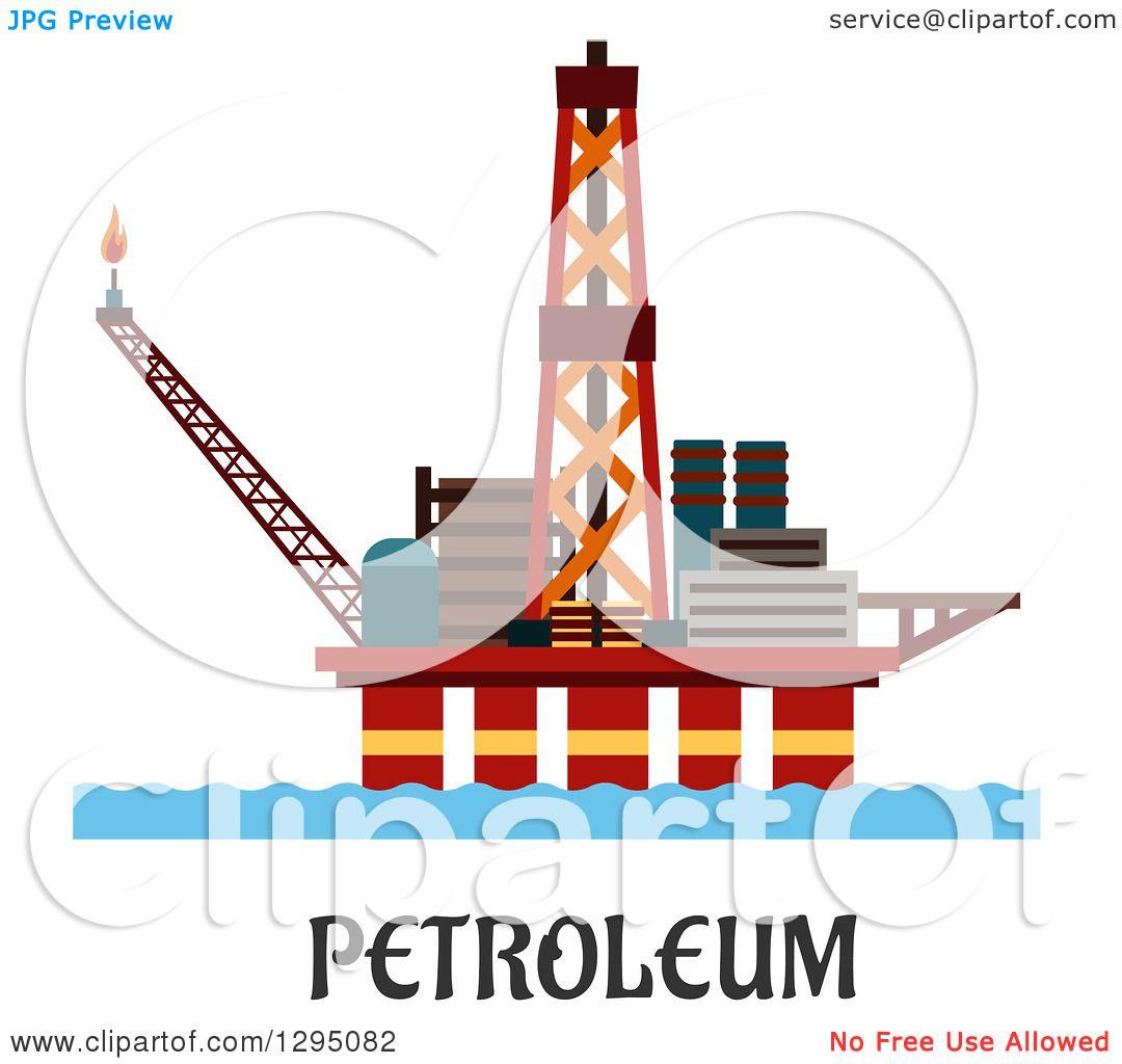 Clipart of an Oil Platform over Petroleum Text.