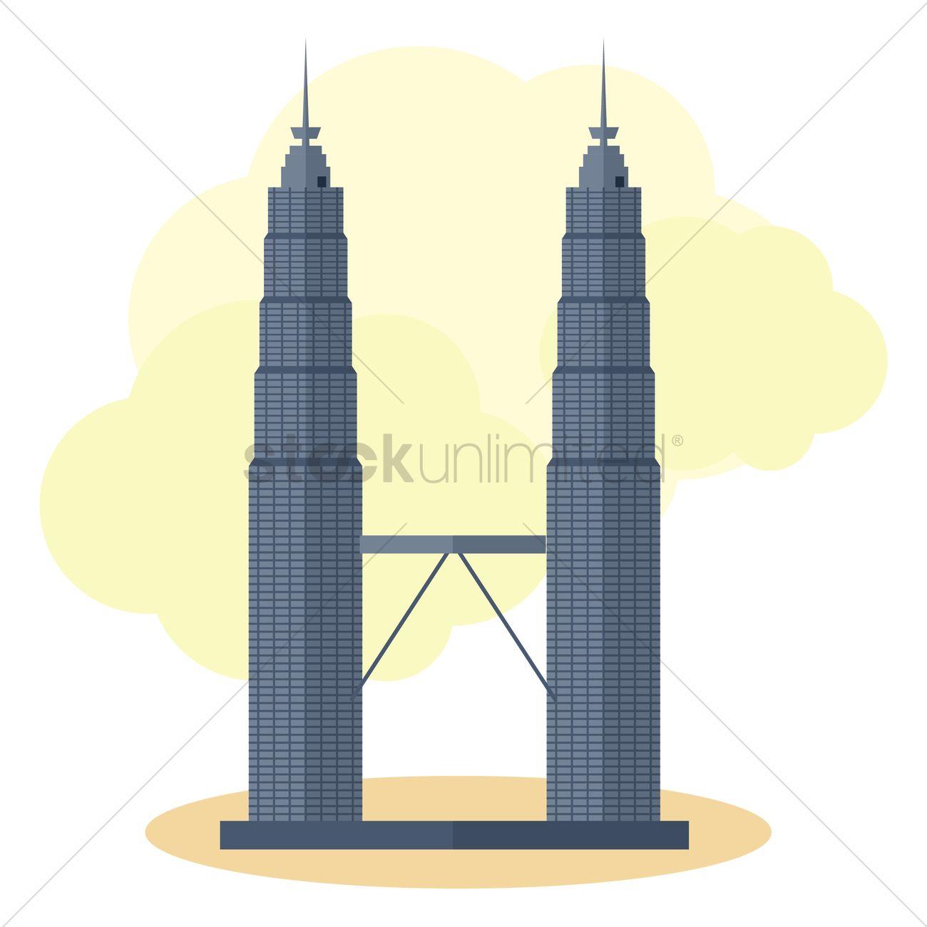 Petronas twin towers Vector Image.