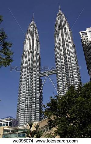Stock Photo of The Petronas Towers, Kuala Lumpur, Malaysia.
