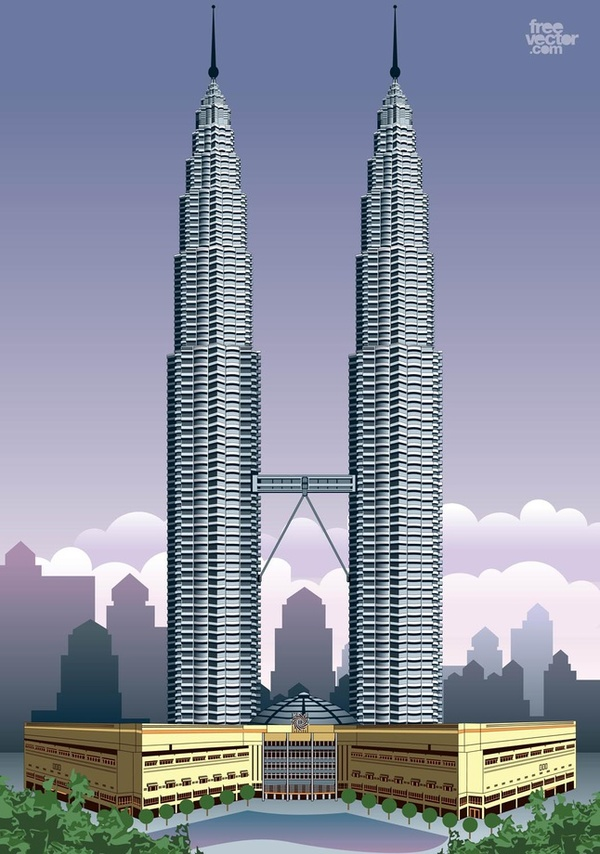 Petronas Towers Free Vector.