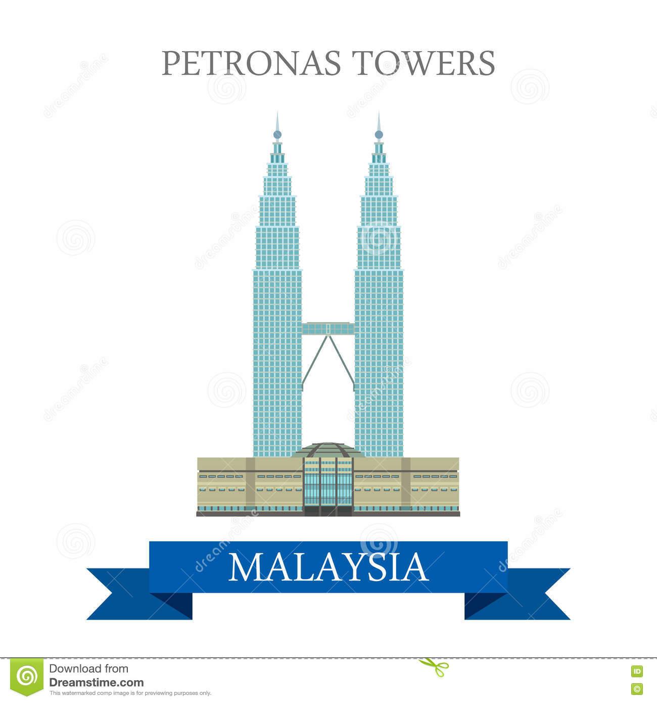 Petronas Twin Towers Kuala Lumpur Malaysia Attraction Travel Stock.