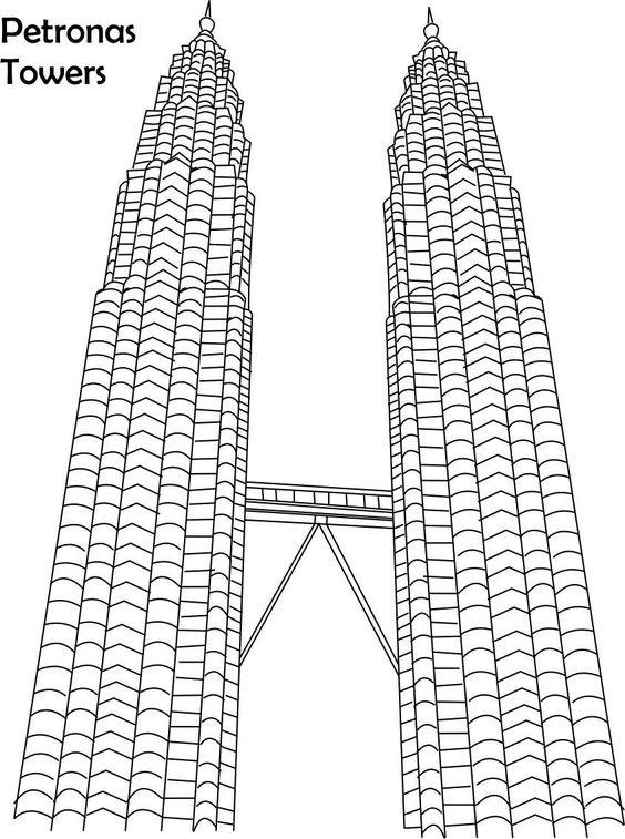 Petronas towers coloring page for kids.