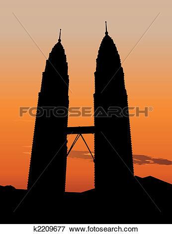 Clip Art of Petronas Twin Towers in Kuala Lumpur k2209677.
