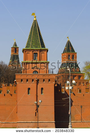 Moscow Russia Kremlin Fortress Palace Cathedrals Stock Photo.