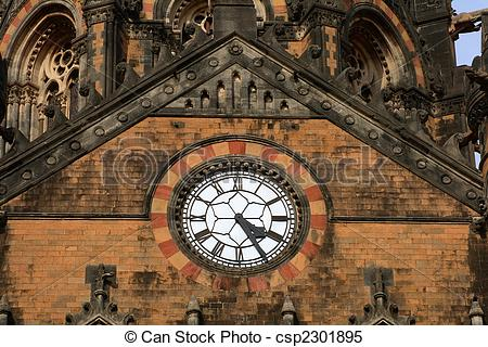 Stock Images of Clock in old building.