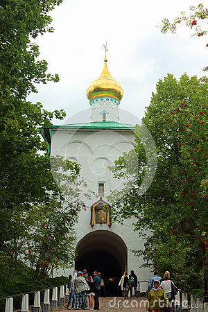 Petrovskaya Tower Above The Holy Doors In The Pskov.