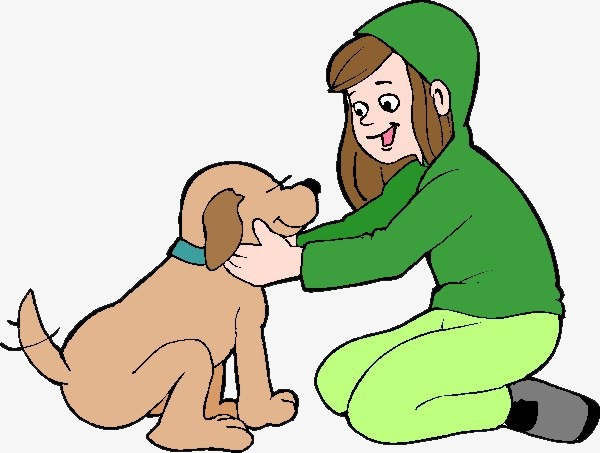 Petting A Dog Clipart.