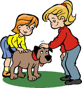 Petting dog clipart.