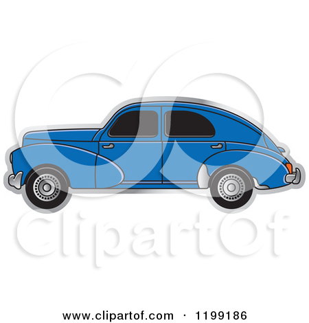 Clipart of a Vintage Blue Peugeot Car with Tinted Windows.